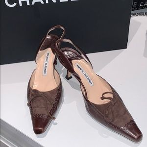 Manolo Blahnik Oxford toe suede leather shoes